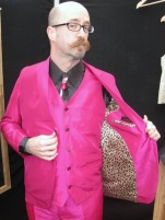 For his wedding, Bret wouldn't settle for anything less than this Thai silk 3-piece in magenta with leopard-print satin lining.