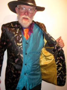 Don is a Vermillion regular - he's wearing the Chinese silk dragonfly jacket with gold satin lining, vest in Thai silk, Vietnamese silk shirt and satin tie...he brought his own hat.