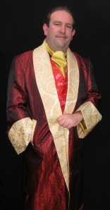 Ryan ordered this Sherlock Holmes-ish robe in Chinese silk for lounging and smoking cigars.