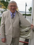 Andy cruises downtown Port Townsend in his new suit - the regal gentleman.