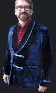 Andy gave us a design for a blue velvet smoking jacket - here are the results (with sky-blue satin trim and tuxedo-style collar).