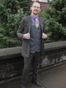 David likes purple. He opted for the corduroy vest with this Merino pinstripe.