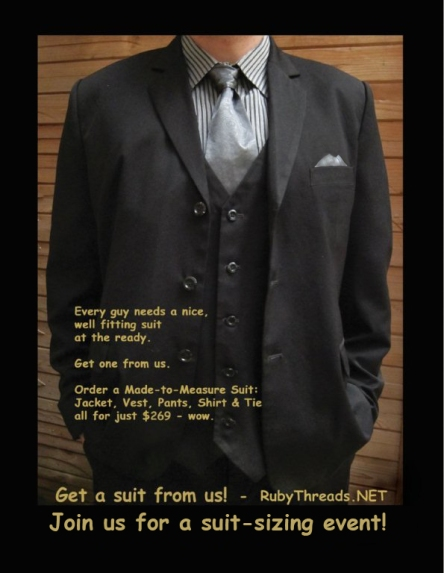 Order this entire outfit - 3-piece suit, shirt, tie & matching pocket square for just $269 - wow.
