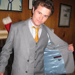 Daniel wearing a three-season wool suit with sky-blue satin lining.