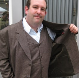Ryan went for a scooped vest for this rougher-than-normal utilitarian material.